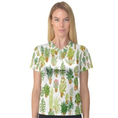 Flowers Pattern Women s V-Neck Sport Mesh Tee