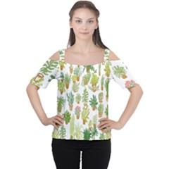 Flowers Pattern Women s Cutout Shoulder Tee