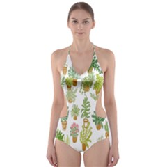 Flowers Pattern Cut-Out One Piece Swimsuit