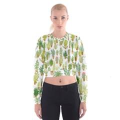 Flowers Pattern Women s Cropped Sweatshirt