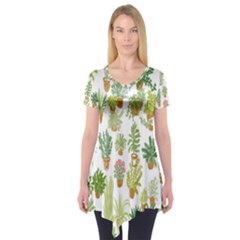 Flowers Pattern Short Sleeve Tunic