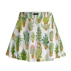 Flowers Pattern Mini Flare Skirt