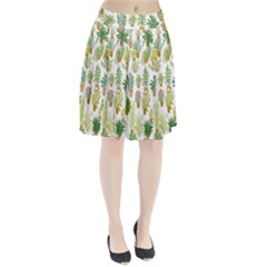 Flowers Pattern Pleated Skirt