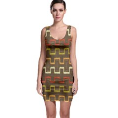 Fabric Texture Vintage Retro 70s Zig Zag Pattern Sleeveless Bodycon Dress