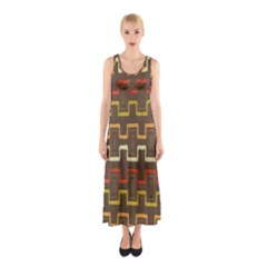 Fabric Texture Vintage Retro 70s Zig Zag Pattern Sleeveless Maxi Dress