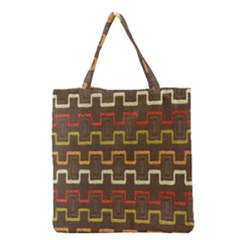 Fabric Texture Vintage Retro 70s Zig Zag Pattern Grocery Tote Bag