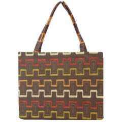 Fabric Texture Vintage Retro 70s Zig Zag Pattern Mini Tote Bag