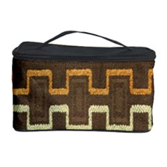 Fabric Texture Vintage Retro 70s Zig Zag Pattern Cosmetic Storage Case