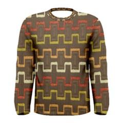 Fabric Texture Vintage Retro 70s Zig Zag Pattern Men s Long Sleeve Tee