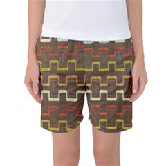 Fabric Texture Vintage Retro 70s Zig Zag Pattern Women s Basketball Shorts