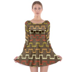 Fabric Texture Vintage Retro 70s Zig Zag Pattern Long Sleeve Skater Dress
