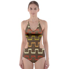 Fabric Texture Vintage Retro 70s Zig Zag Pattern Cut-Out One Piece Swimsuit