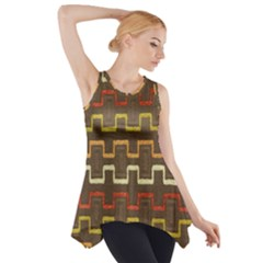 Fabric Texture Vintage Retro 70s Zig Zag Pattern Side Drop Tank Tunic
