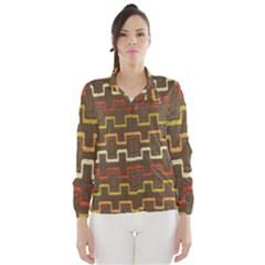 Fabric Texture Vintage Retro 70s Zig Zag Pattern Wind Breaker (Women)