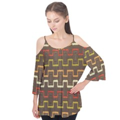 Fabric Texture Vintage Retro 70s Zig Zag Pattern Flutter Tees