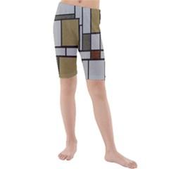 Fabric Textures Fabric Texture Vintage Blocks Rectangle Pattern Kids  Mid Length Swim Shorts