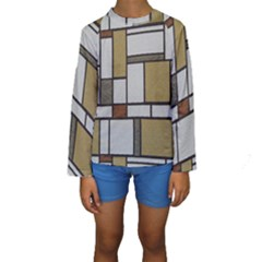 Fabric Textures Fabric Texture Vintage Blocks Rectangle Pattern Kids  Long Sleeve Swimwear