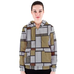 Fabric Textures Fabric Texture Vintage Blocks Rectangle Pattern Women s Zipper Hoodie