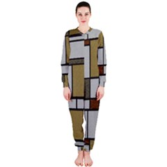 Fabric Textures Fabric Texture Vintage Blocks Rectangle Pattern OnePiece Jumpsuit (Ladies)