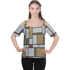Fabric Textures Fabric Texture Vintage Blocks Rectangle Pattern Women s Cutout Shoulder Tee