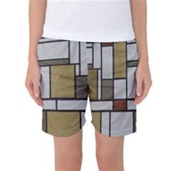 Fabric Textures Fabric Texture Vintage Blocks Rectangle Pattern Women s Basketball Shorts