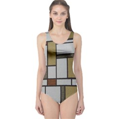 Fabric Textures Fabric Texture Vintage Blocks Rectangle Pattern One Piece Swimsuit