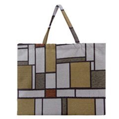 Fabric Textures Fabric Texture Vintage Blocks Rectangle Pattern Zipper Large Tote Bag