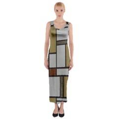 Fabric Textures Fabric Texture Vintage Blocks Rectangle Pattern Fitted Maxi Dress