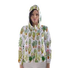 Flowers Pattern Hooded Wind Breaker (Women)