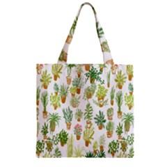Flowers Pattern Zipper Grocery Tote Bag