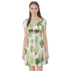 Flowers Pattern Short Sleeve Skater Dress