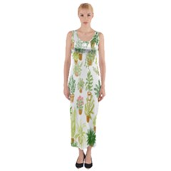 Flowers Pattern Fitted Maxi Dress