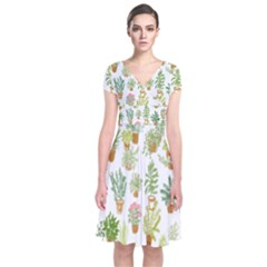 Flowers Pattern Short Sleeve Front Wrap Dress