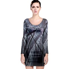 Fractal Art Picture Definition  Fractured Fractal Texture Long Sleeve Bodycon Dress