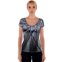 Fractal Art Picture Definition  Fractured Fractal Texture Women s V-Neck Cap Sleeve Top