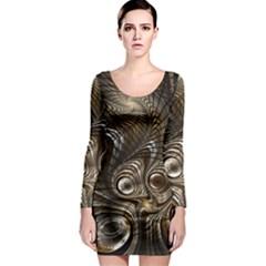 Fractal Art Texture Neuron Chaos Fracture Broken Synapse Long Sleeve Bodycon Dress