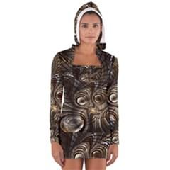 Fractal Art Texture Neuron Chaos Fracture Broken Synapse Women s Long Sleeve Hooded T-shirt