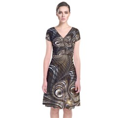 Fractal Art Texture Neuron Chaos Fracture Broken Synapse Short Sleeve Front Wrap Dress