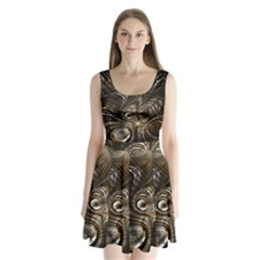 Fractal Art Texture Neuron Chaos Fracture Broken Synapse Split Back Mini Dress