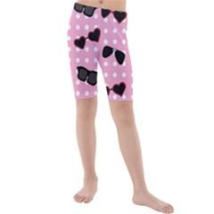 Pisunglass Tech Pink Pattern Kids  Mid Length Swim Shorts