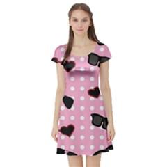 Pisunglass Tech Pink Pattern Short Sleeve Skater Dress