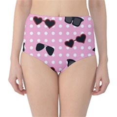 Pisunglass Tech Pink Pattern High-Waist Bikini Bottoms