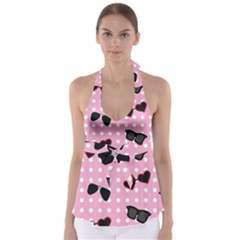 Pisunglass Tech Pink Pattern Babydoll Tankini Top