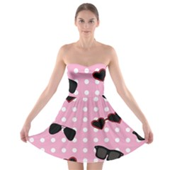 Pisunglass Tech Pink Pattern Strapless Bra Top Dress