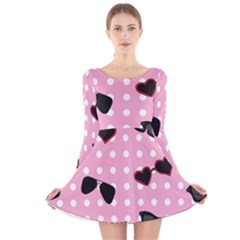 Pisunglass Tech Pink Pattern Long Sleeve Velvet Skater Dress