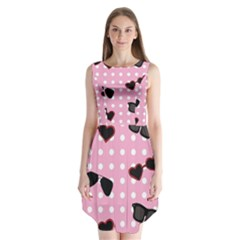 Pisunglass Tech Pink Pattern Sleeveless Chiffon Dress