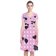 Pisunglass Tech Pink Pattern Short Sleeve Front Wrap Dress
