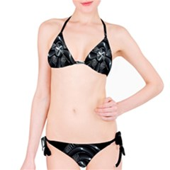 Fractal Disk Texture Black White Spiral Circle Abstract Tech Technologic Bikini Set