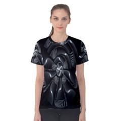 Fractal Disk Texture Black White Spiral Circle Abstract Tech Technologic Women s Cotton Tee