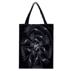 Fractal Disk Texture Black White Spiral Circle Abstract Tech Technologic Classic Tote Bag